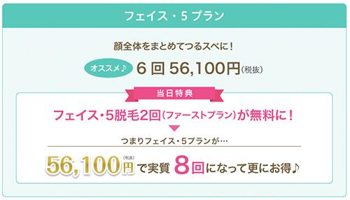 ファーストプラン(フェイス・5脱毛2回分6,000円)が無料